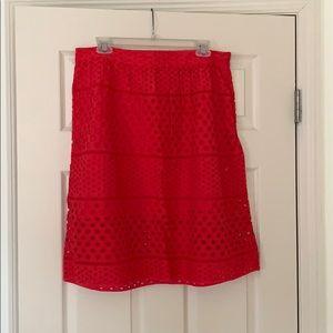 Pink eyelet skirt from Loft
